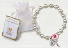 Pearl and Rose First Communion Bracelet