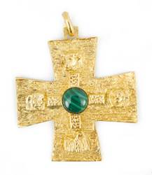 Pectoral Cross Gold Plate With Jade Stone