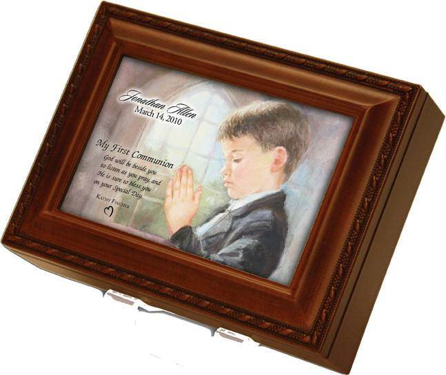 Personalized First Communion Boy's Music Box