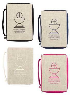 Personalized Linen Bible Case for First Communion
