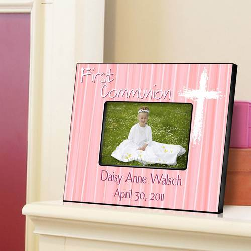 Personalized Pink First Communion Frame personalized frame, first communion frame, holy eucharist frame, girl gift, boy gift, picture frame,  frame,