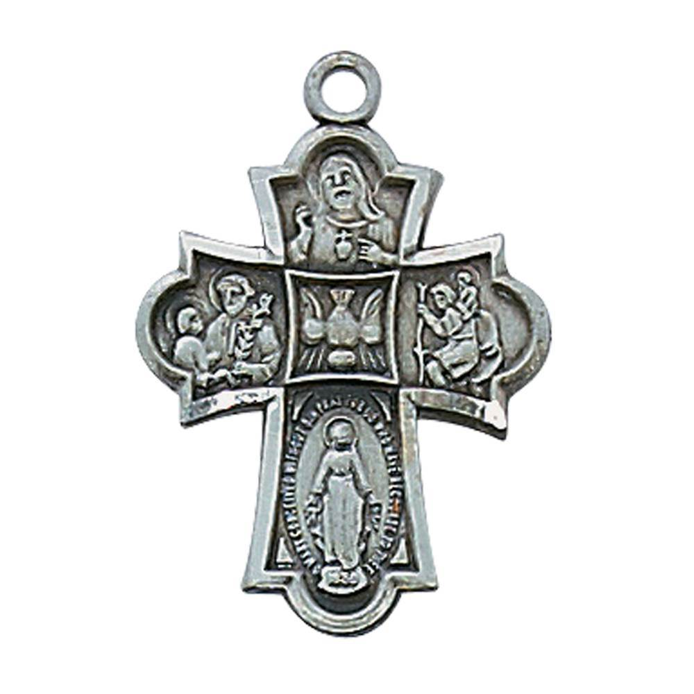 Pewter 4-Way Medal on Chain