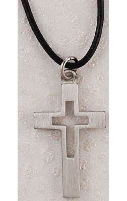 "Pewter Cut-Out Cross On 24"" Leather Cord"