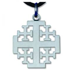 Pewter Finished Jerusalem Cross Necklace