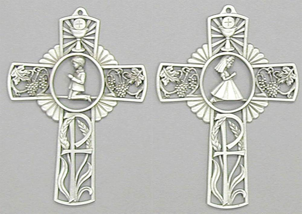 Pewter First Communion Wall Cross
