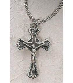 Pewter Flared Crucifix On A Chain