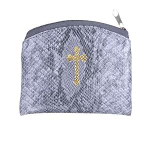 Pewter Reptile Skin Gold Stamped Rosary Case