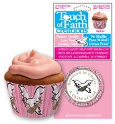 Pink Baptism Baking Cups