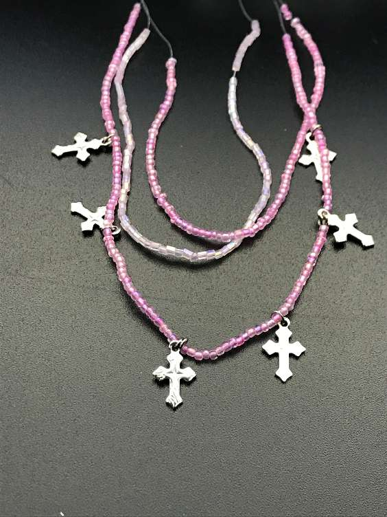Pink Bead Necklace with Cross Charms PK 20