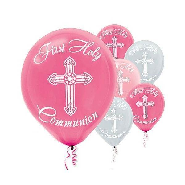 Pink First Communion Latex Balloons