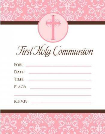 Pink Cross First Communion Invitations