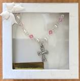 Pink Crystal and Pearl Necklace