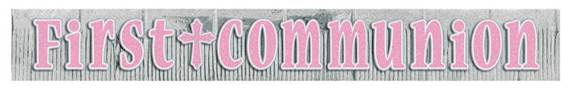 Pink First Communion Glittery Banner