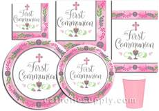 Pink First Communion Paper Plates, Napkins, & More