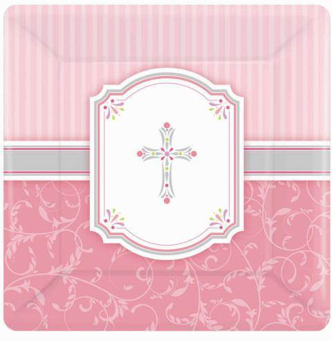 Pink Plates 593847,first communion partyware, pink partyware, girl first communion , girl first communion party, first communion party, paper products,pink plates, salad plate, dinner plate, first communion plates, girls party products
