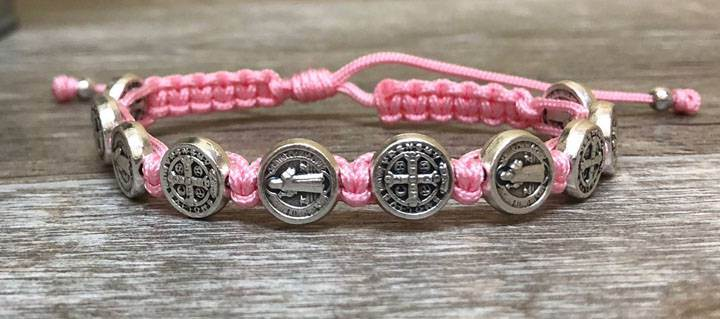 Pink and Silver St. Benedict Blessing Bracelet with Story CardPink and Silver St. Benedict Blessing Bracelet with Story Card