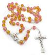 Pink and Yellow Glass Rosary