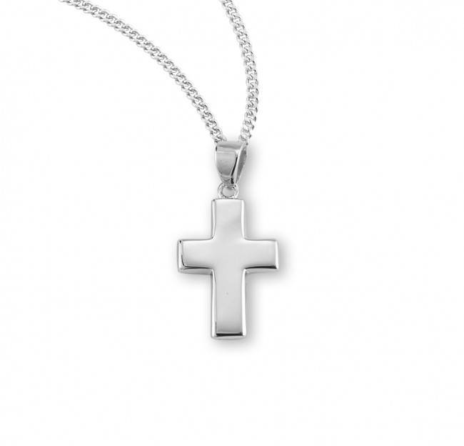 Plain Wide Sterling Silver Cross on Chain
