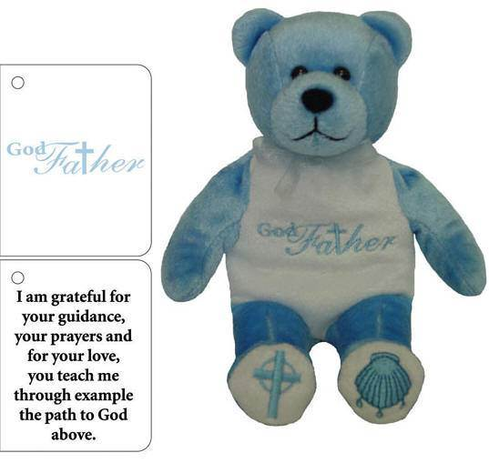 Plush Embroidered Godfather Bear godfather bear, baptism bear, gift, bear, plush bear, plush toy, sacramental gift, girl gift, boy gift, holy bear,