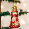 Poinsettia Angel Glass Ornament