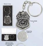 Police Shield Keychain FREE ENGRAVING + SHIPPING!