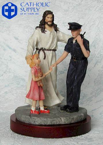 Policeman and Jesus Statue