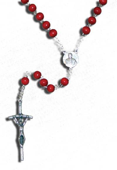 Pope Benedict XVl Rosary rosary, wood bead, red bead, papel rosary, sacramental gift, pope rosary, commemerative rosary