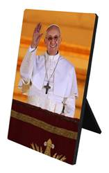 Pope Francis Arrives on Balcony Desk Plaque