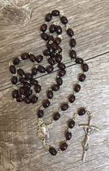 Pope Francis Brown Wood Rosary rosary, wood rosary, brown oval bead rosary, pope francis rosary, papel crest, 00200