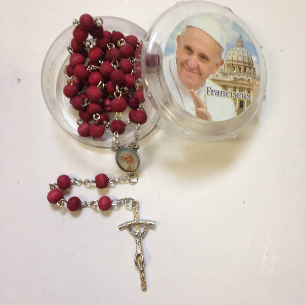 Pope Francis Rosay and Case wood bead rosary, rose scented beads, pope francis rosary, rosary and case. sacramental gift, papel gift, 13CL026