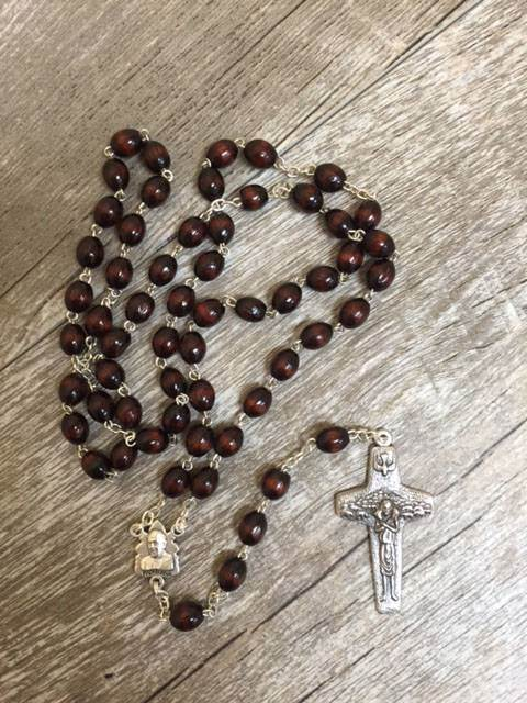 Pope Francis Wood Rosary - 17141