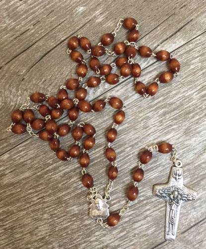 Pope Francis Wood Rosary