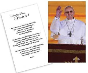 Pope Francis on Balcony Laminated Holy Card
