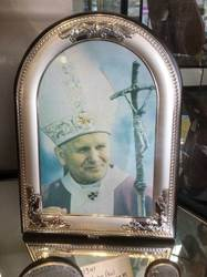 Pope John Paul II Canvas on Silver/Wood Plaque from Italy