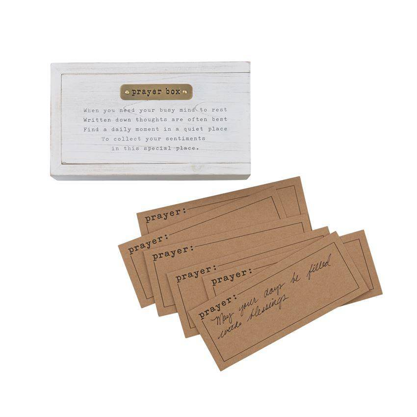 "3-piece set. White-washed wooden ""prayer box"" features match-box style sliding construction, debossed gold metalaccent plate and printed poem. Arrives with 12 kraft prayer slips.  DETAILS Size: box 2"" x 6 1/2"" x 3 1/2"" 