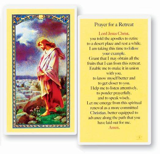 Prayer For A Retreat Laminated Prayer Card