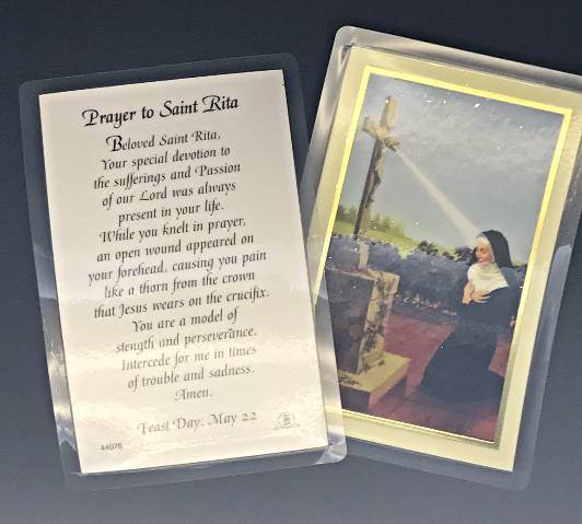 Prayer to St. Rita  Laminated Prayercard