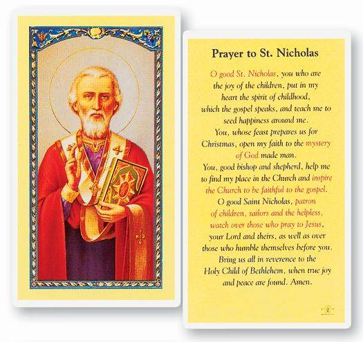 "Prayer to Saint Nicholas  Clear, laminated Italian holy cards with Gold Accents. Features World Famous Fratelli-Bonella Artwork. 2.5"" x 4.5"""