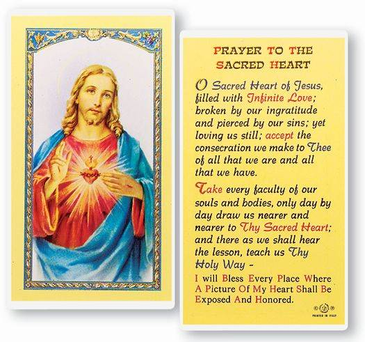 Prayer To The Sacred Heart Holy Card