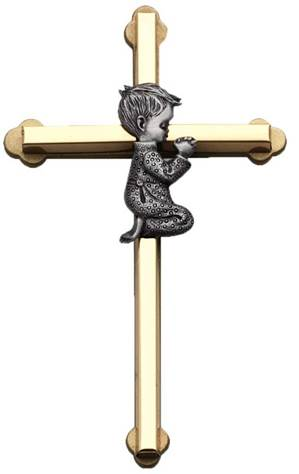 Praying Baby Boy Wall Cross, 6-Inch High