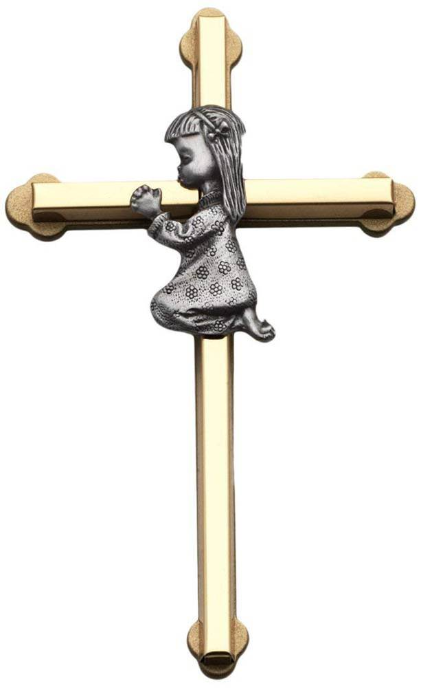 Praying Baby Girl Wall Cross, 6-Inch High