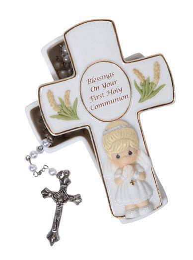 *DISC* Precious Moments Cross Box with Rosary