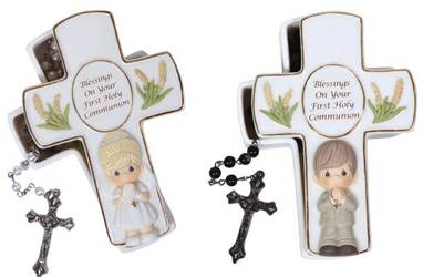 *DISC* Precious Moments Cross Box with Rosary first communion gift, first communion keepsake box, boy gift, girl gift, cross box, rosary holder, rosary box, holy eucharist gift, sacramental gift, pearl rosary, black rosary