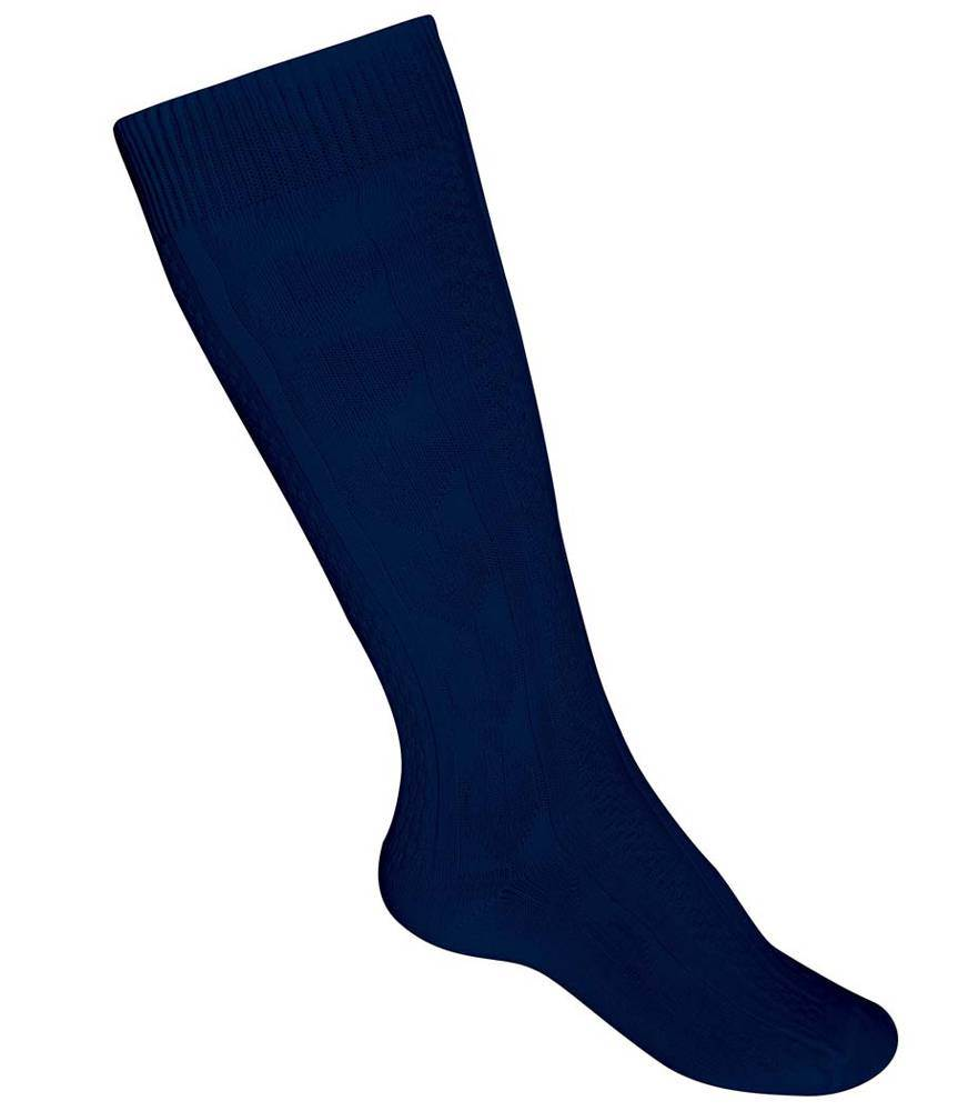 Cable Knee-Hi Sock, Navy