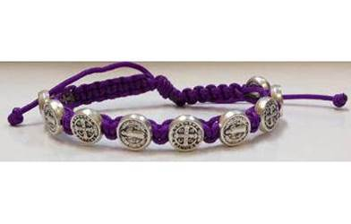 Purple/Silver St. Benedict Blessing Bracelet with Story Card