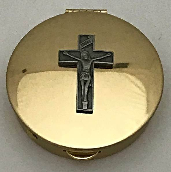 Pyx with Pewter Crucifix