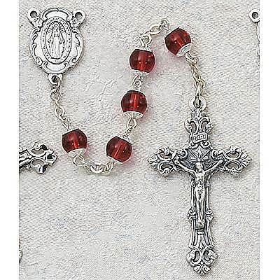 Red Capped Glass Rosary rosary, glass bead, oxidized center, oxidized crucifix, 6mm beads, sacramental rosary, rosary gift, special occasion gift,266S/F, red glass beads,