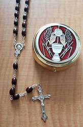 Red Enamel First Communion Keepsake Box with Wood Rosary