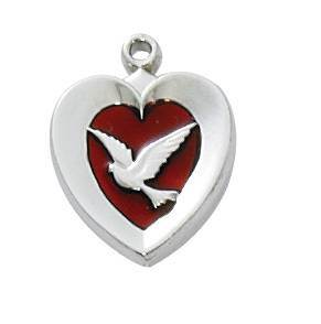 Red Enamel Heart W/ Dove Necklace
