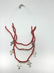 Red Necklace With Crosses necklace, childs necklace, red beads, crucifix necklace, strands, layered necklace, 74215